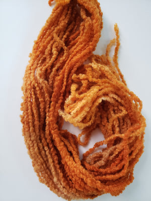 PUMPKIN - Woolly Boucle Strands - Hand Dyed Textured Yarn OOAK - Shades of Orange