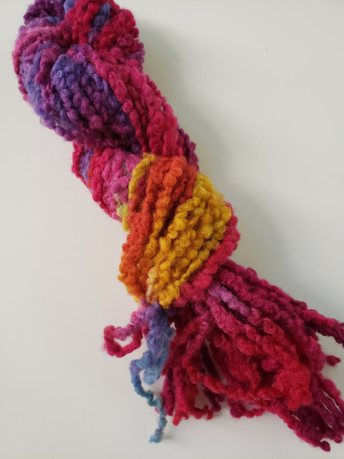 RAINBOW  - Woolly Boucle Strands - Hand Dyed Textured Yarn OOAK - Multicoloured