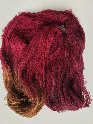 Silky Curly Locks - RED MAPLE - Hand Dyed Textured Yarn - Landscape Shades