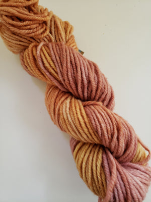 ROSE GOLD - Wonder Woolen Fleece Artist Hand Dyed Yarn - Shades of Pink/Gold
