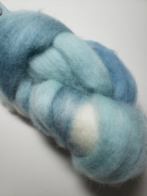 SALT SPRAY - Corriedale Sliver Hand Dyed Fleece - Shades of Blue