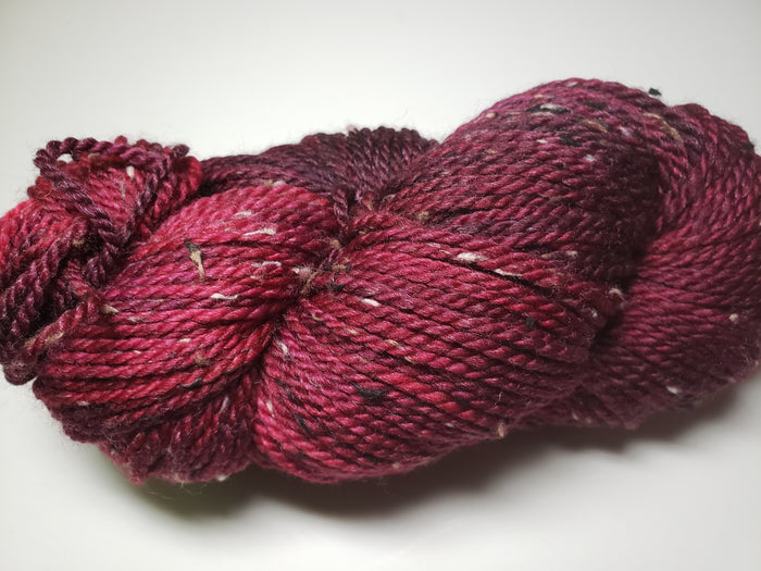 SASKATOON BERRY - Bramble Tweedy Red Worsted Hand Dyed Yarn