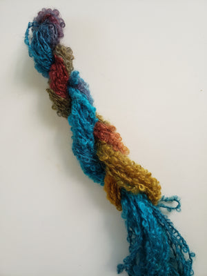 Curly Lock Strands - SECRET LAKE - Hand Dyed Textured Yarn OOAK - Multicoloured
