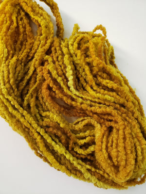 Woolly Boucle Strands - SUNFLOWER - Hand Dyed Textured Yarn OOAK - Shades of Gold