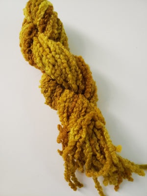 SUNFLOWER  - Woolly Boucle Strands - Hand Dyed Textured Yarn OOAK - Shades of Gold