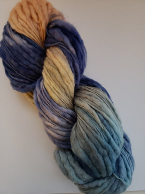 Slubby - SUNSET -  Merino/Blue Face Leicester - Hand Dyed Textured Yarn Thick and Thin  - OOAK Variegated Shades