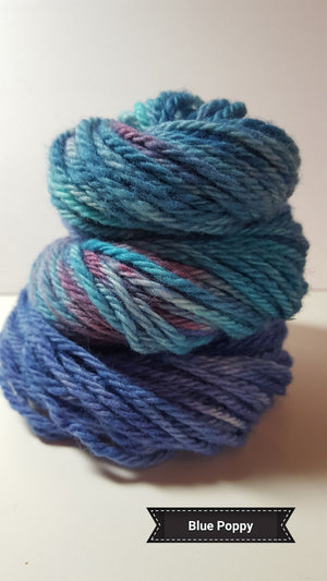Blue Poppy - Hand Dyed Aran/Worsted Yarn for Rug Hooking