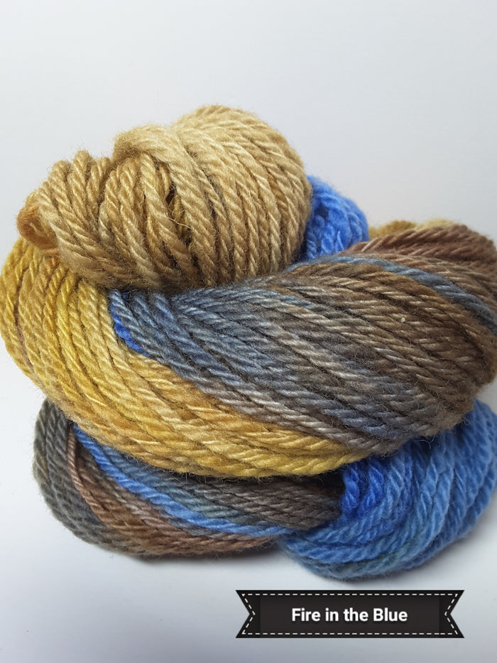 Fire in the Blue - Hand Dyed Aran/Worsted Yarn for Rug Hooking