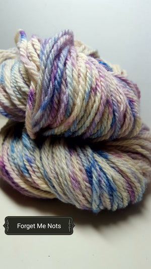 Forget Me Nots - Hand Dyed Aran/Worsted Yarn for Rug Hooking