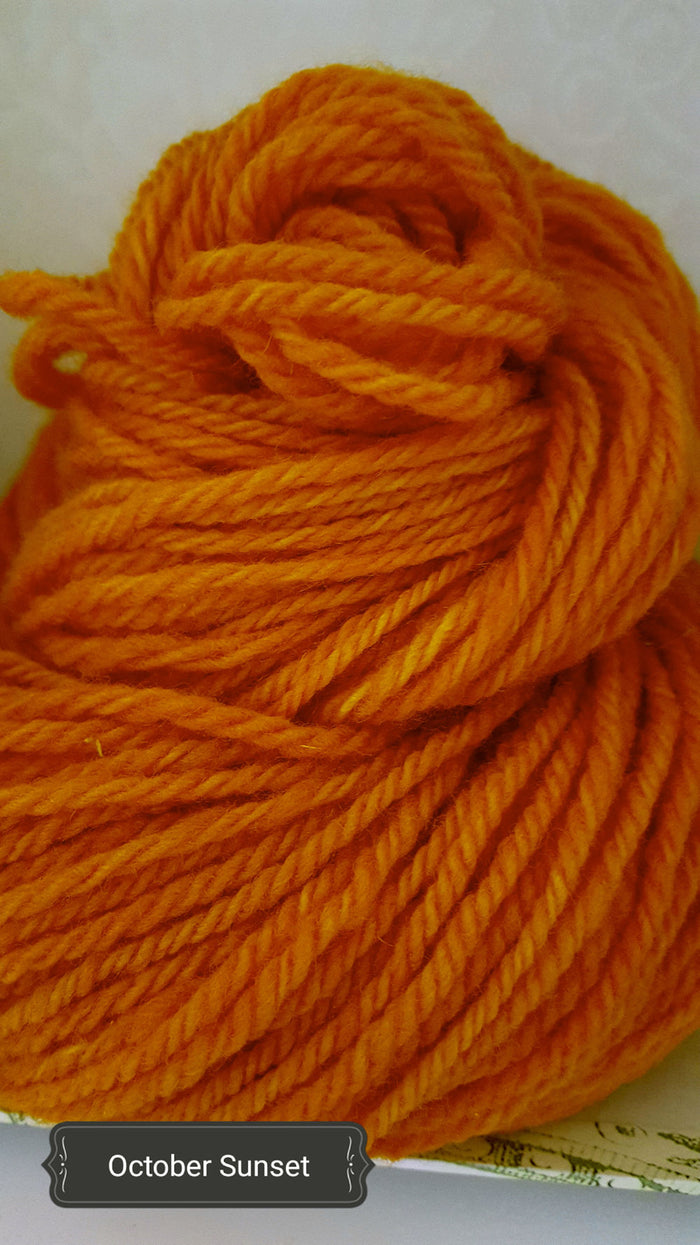 October Sunset - Hand Dyed Aran/Worsted Yarn for Rug Hooking