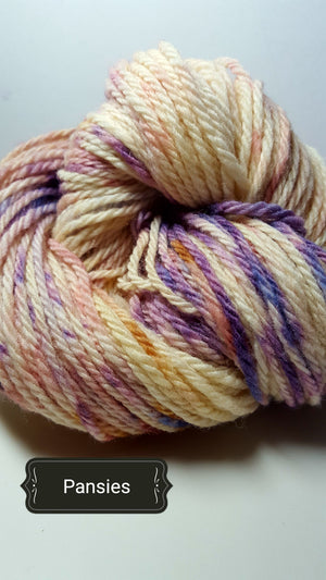 Pansies - Hand Dyed Aran/Worsted Yarn for Rug Hooking