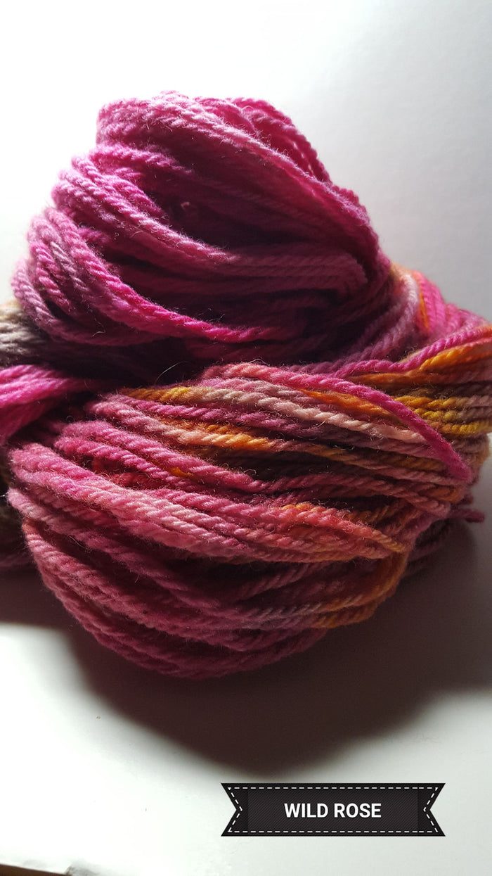 Wild Rose - Hand Dyed Aran/Worsted Yarn for Rug Hooking