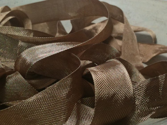Log Brown - Silk Style Vintage Ribbon - 5 Yards