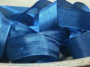 Union Blue - Silk Style Vintage Ribbon - 5 Yards