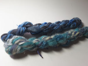 Hand Spun Yarn for Rug Hooking - Water Blues - OOAK