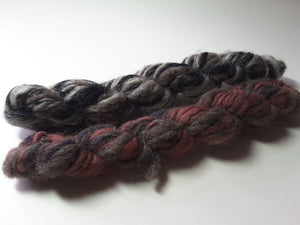 Hand Spun Yarn for Rug Hooking - Dark Neutrals -OOAK