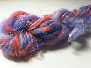 Hand Spun Yarn for Rug Hooking - Lupines - OOAK