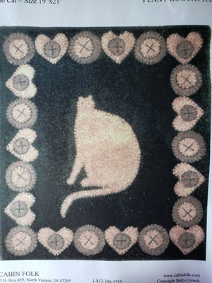 "Cat - 19"" x 21""  - Wool Applique Penny Rug Pattern"