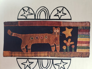 "Cat - 8"" x 20""  - Wool Applique Pattern by Vermont Folk Rugs"