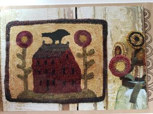 Red Saltbox 14.5 x 12 inches - Rug Hooking Paper Pattern
