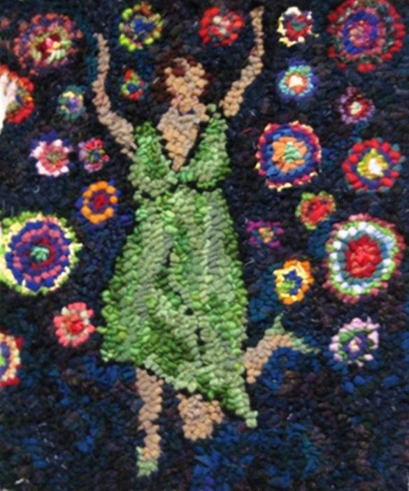 "DANCING IN CIRCLES  - 12"" x 16"" - Complete Rug Hooking Kit for Pillow or Wall Hanging - Deanne Fitzpatrick Design"