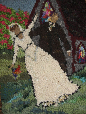 "GETTING MARRIED - 12"" x 16"" - Complete Rug Hooking Kit - Deanne Fitzpatrick Design"