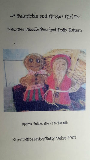 Belsnickle and Ginger Girl - Punch Needle Pattern by Primitive Betty