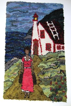 Girl at the Lighthouse  -  Rug Hooking Pattern on Linen