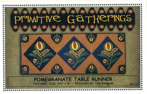 Pomegranate Table Runner - Wool Applique Kit with Pattern - Primitive Gatherings