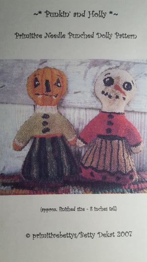 Punkin' and Holly - Punch Needle Pattern by Primitive Betty