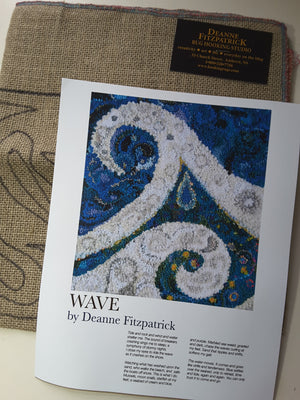 Wave  -  Rug Hooking Pattern on Linen