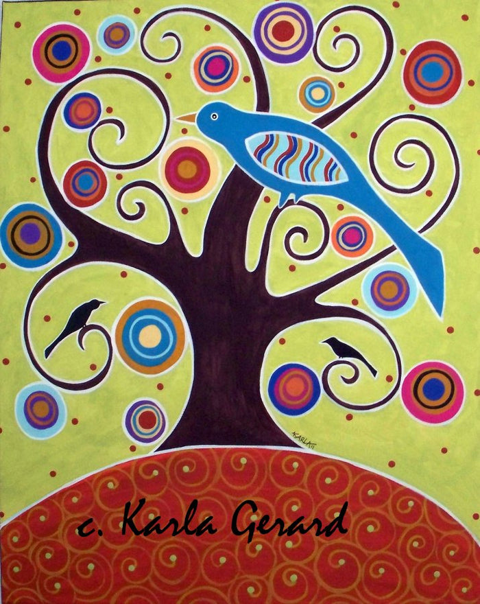 Birds in Swirl Tree- Linen Rug Hooking Pattern - Karla Gerard