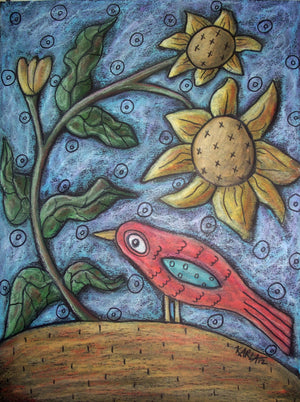 Red Bird - Linen Rug Hooking Pattern - Karla Gerard