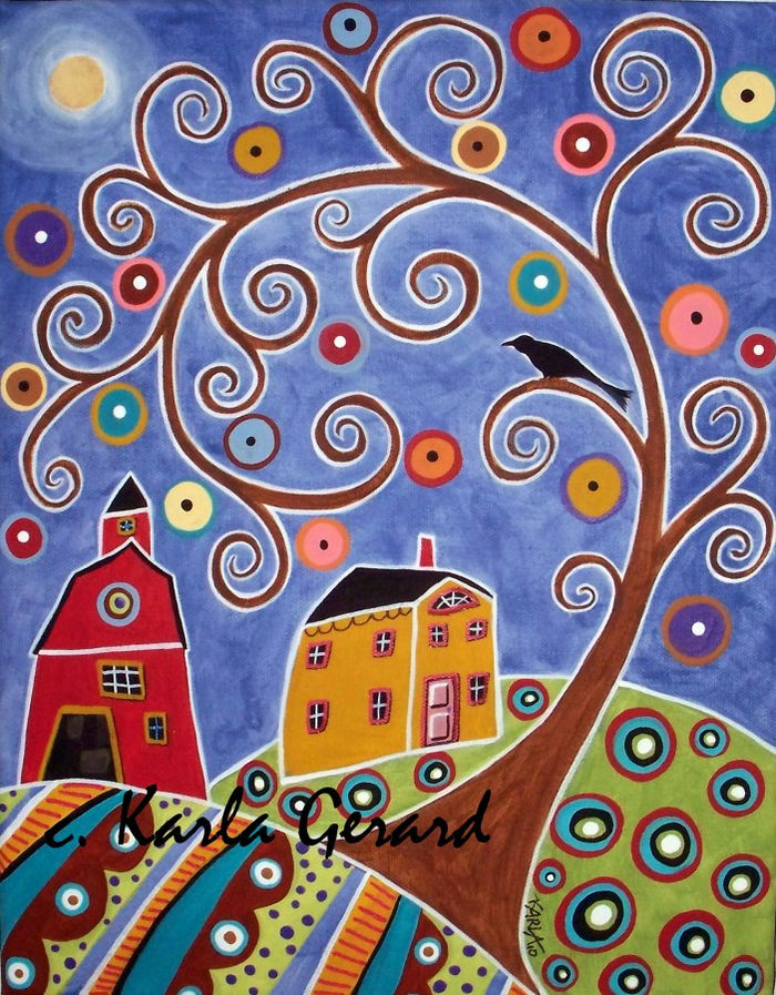 Swirl Tree House & Barn- Linen Rug Hooking Pattern - Karla Gerard