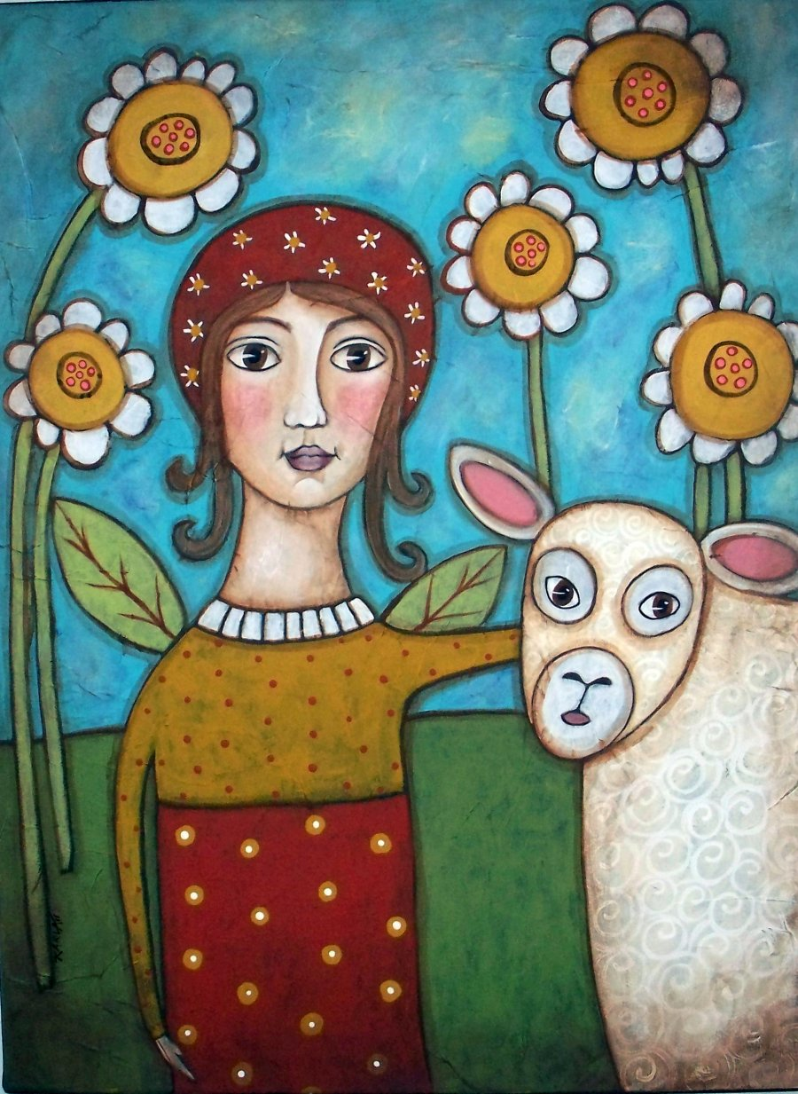 Angel & Sheep - Linen Rug Hooking Pattern - Karla Gerard
