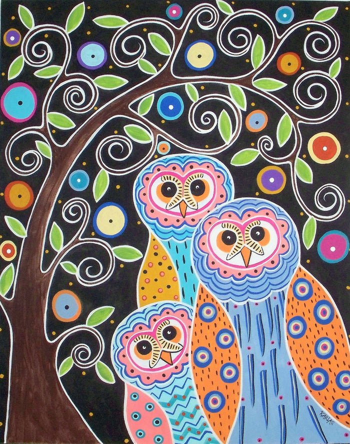 Owls and Tree - Linen Rug Hooking Pattern - Karla Gerard