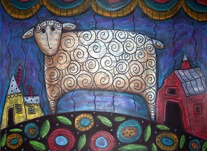 Folk Art Sheep - Linen Rug Hooking Pattern - Karla Gerard