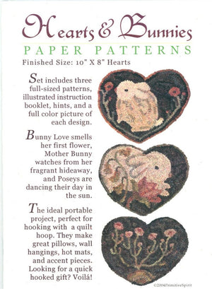 Hearts and Bunnies - Rug Hooking Paper Pattern