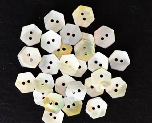 Mini Hex Shaped Buttons - Mother of Pearl