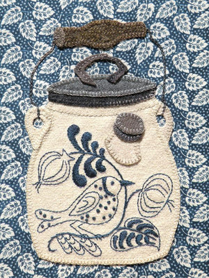 Birdie Batter Crock Wool Applique Pattern