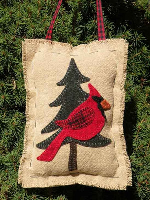 Cardinal in a Pine Tree Wool Applique Pattern