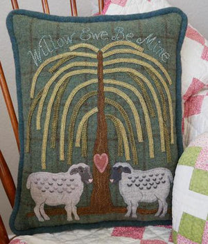 Willow Be Mine - Wool Applique Pattern - Pillow