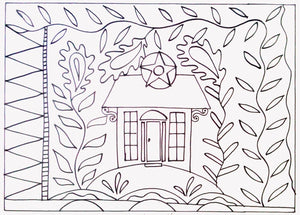 Garden Cottage  -  Rug Hooking Pattern on Linen - M. Shaw