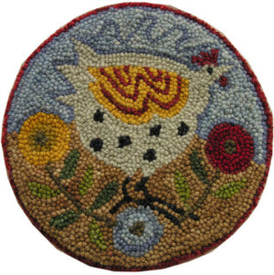 Poppy Hen Chairpad  -  Rug Hooking Pattern on Linen - M. Shaw