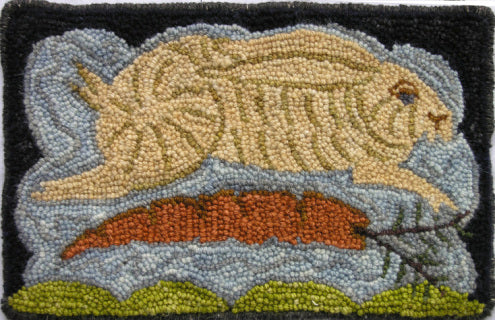 Rabbit Over Carrot  -  Rug Hooking Pattern on Linen - M. Shaw