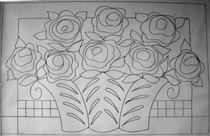 Roses  -  Rug Hooking Pattern on Linen - M. Shaw