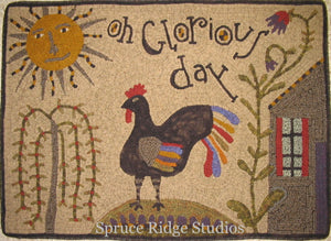 Oh Glorious Day Folk Art  -  Rug Hooking Pattern on Linen