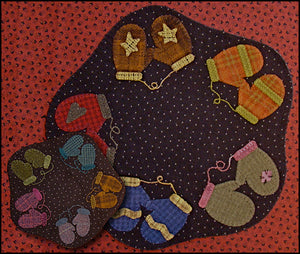 Amy's Mittens Table Mat -  Wool Applique Pattern with Option for a Wool Kit