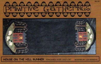 House on the Hill Table Runner -  Wool Applique Pattern with Option for a Wool Kit
