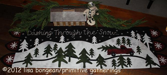Dashing Through the Snow Table Mat -  Wool Applique Pattern
